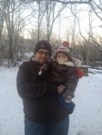 Emma and Daddy- sporting her coat